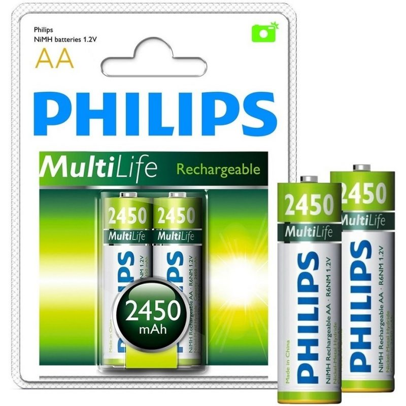 Pila Recargable Philips AA 2450mah Blister x2 Pilas 1