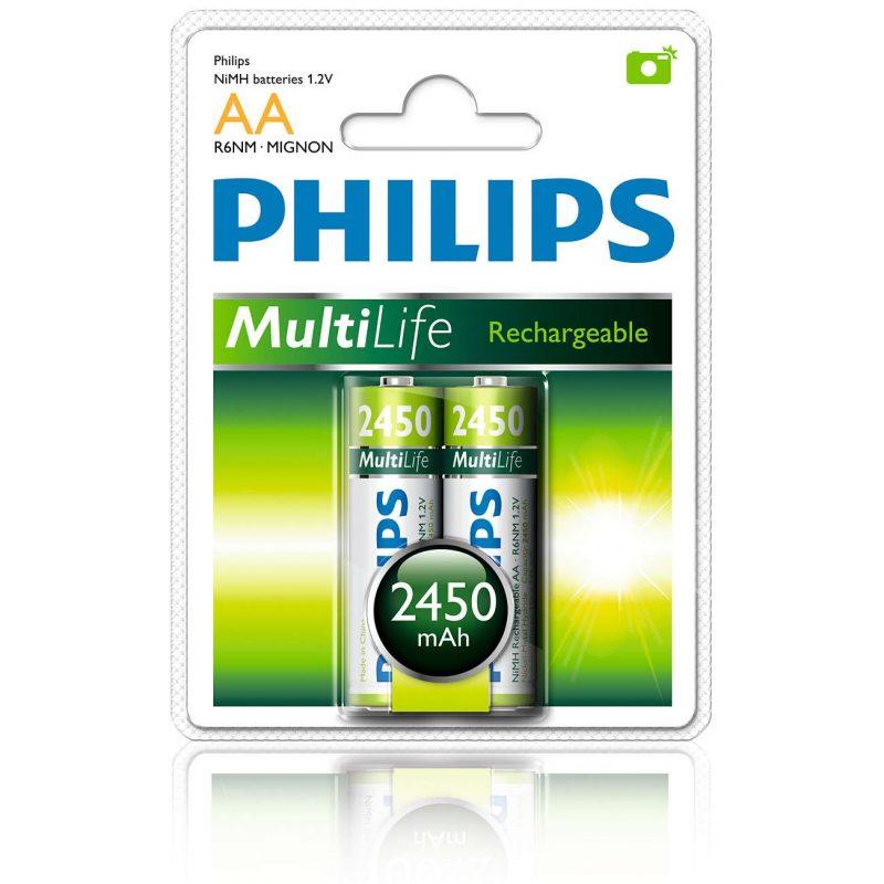 Pila Recargable Philips AA 2450mah Blister x2 Pilas 2