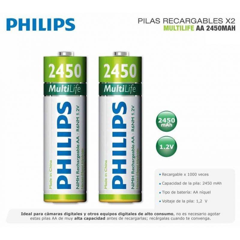 Pila Recargable Philips AA 2450mah Blister x2 Pilas 3