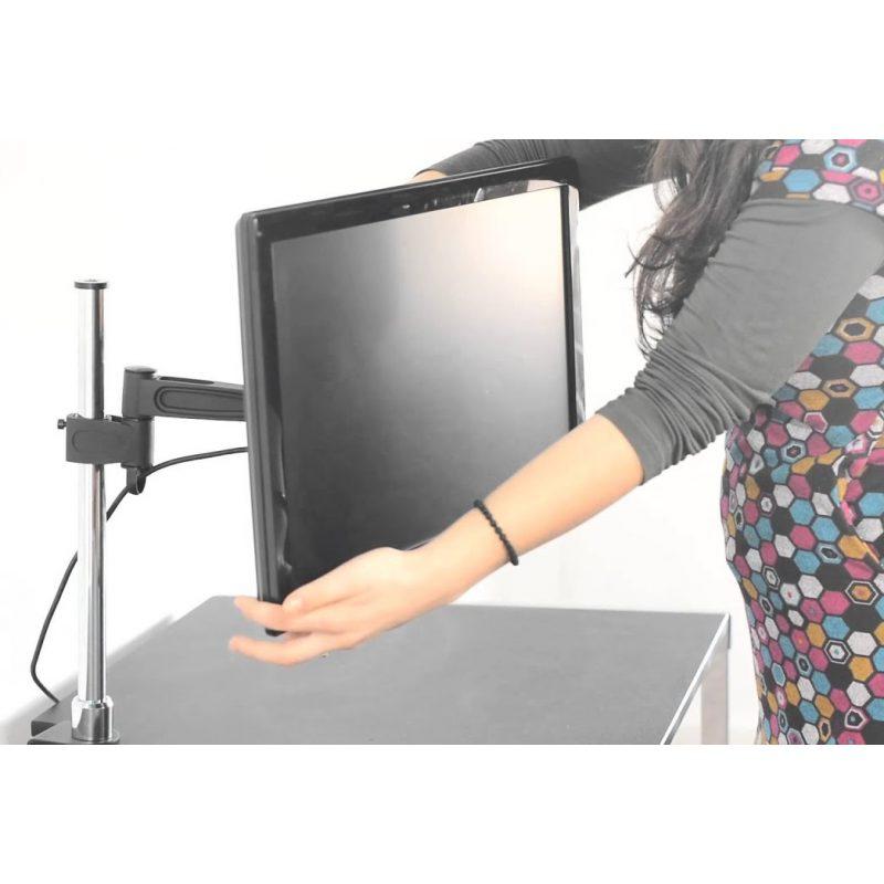 Soporte cromado largo de Escritorio Brateck LCD-T12 para Monitor de Hasta 27'' 4