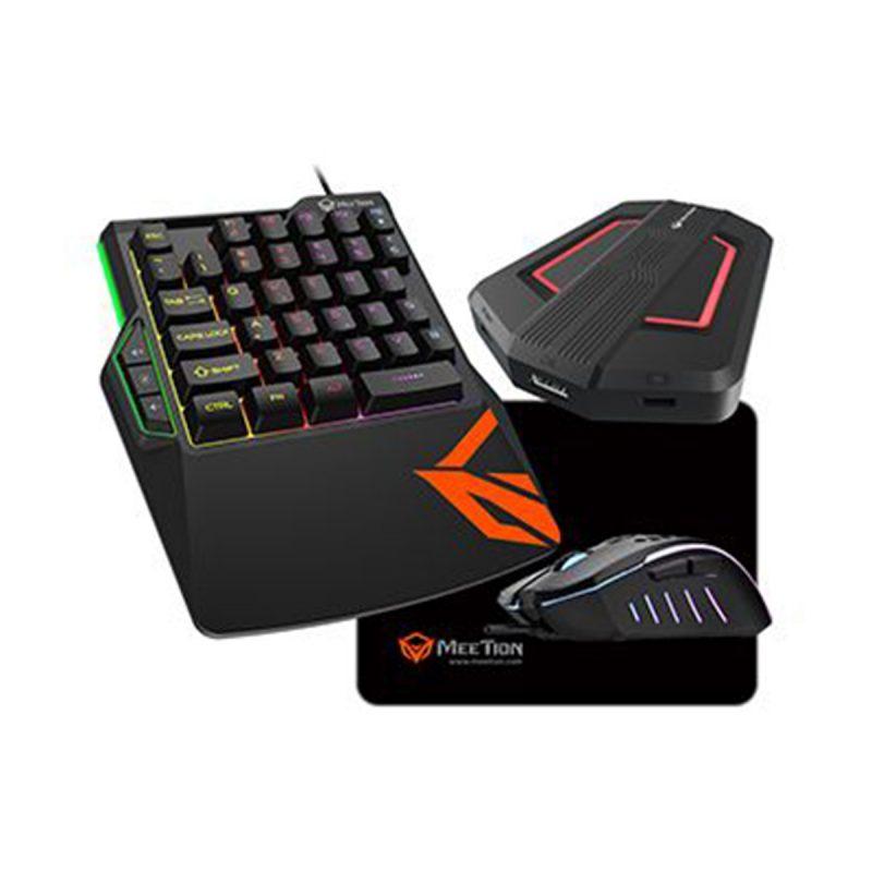 Combo Teclado Mouse Adaptador Mousepad Gamer MeeTion CO015 Retroiluminado RGB para Consolas 1