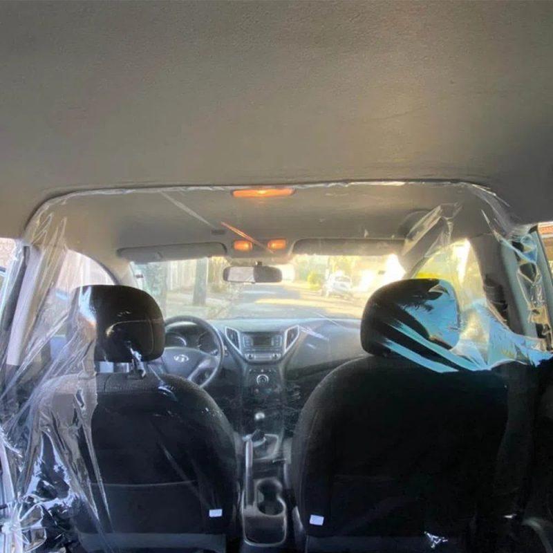 Cortina Mampara Sanitaria Protectora para Autos de PVC Transparente Habitaculo 3