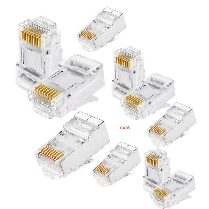 Fichas Conector rj45 Cat6 Para Cables de Red - Bolsa x10 Unidades 1