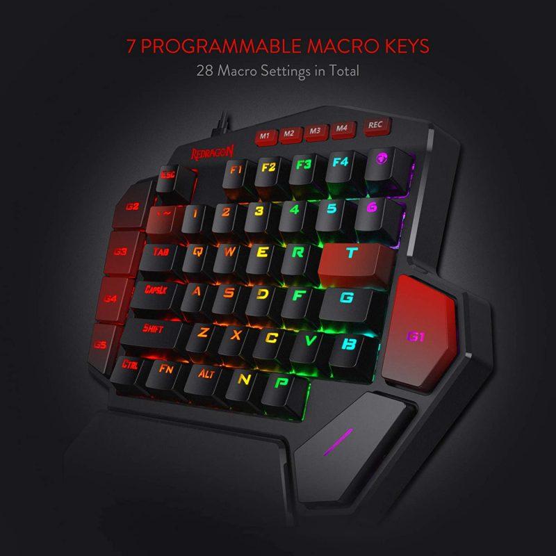 Teclado Keypad Profesional Gamer Redragon K585 RGB Diti Mecanico Switch Blue - Negro 3