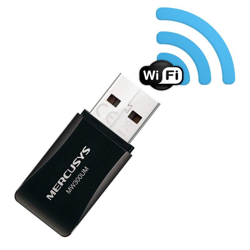 Mini Adaptador USB Inalambrico WiFi Mercusys MW300UM 300Mbps 1