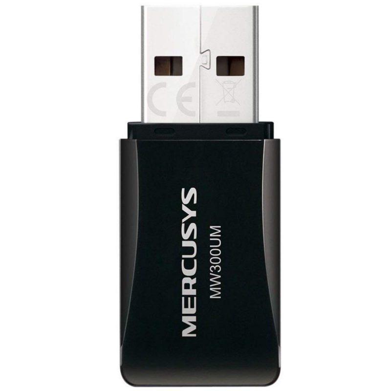 Mini Adaptador USB Inalambrico WiFi Mercusys MW300UM 300Mbps 3