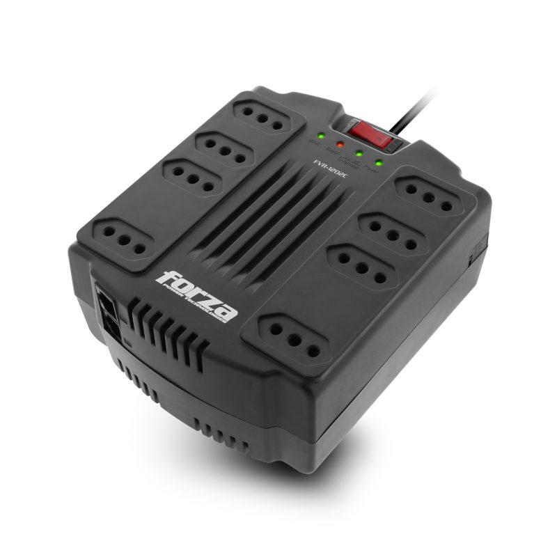 Zapatilla y Regulador de Voltaje Forza FVR-1202C con Proteccion de Sobretension 8 Tomas (Tres en Línea) 1