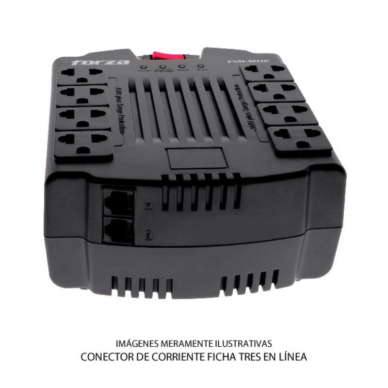 Zapatilla y Regulador de Voltaje Forza FVR-1202C con Proteccion de Sobretension 8 Tomas (Tres en Línea) 2