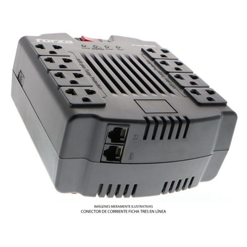 Zapatilla y Regulador de Voltaje Forza FVR-1202C con Proteccion de Sobretension 8 Tomas (Tres en Línea) 3