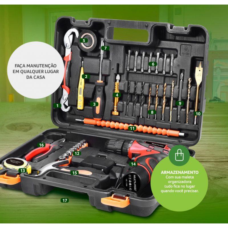 Kit de Herramientas Completo Multilaser HO073 41 Piezas Taladro Destornillador Eléctrico 12v 4