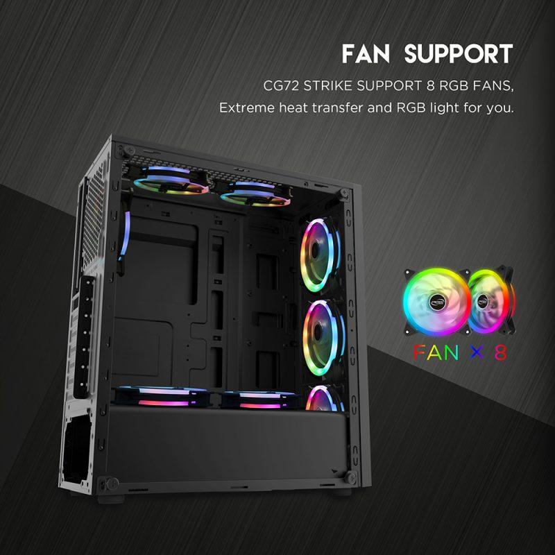 Gabinete Gamer Fantech CG72 PULSE Linea RGB Lateral de Vidrio Templado (Sin Fuente) - Negro 4
