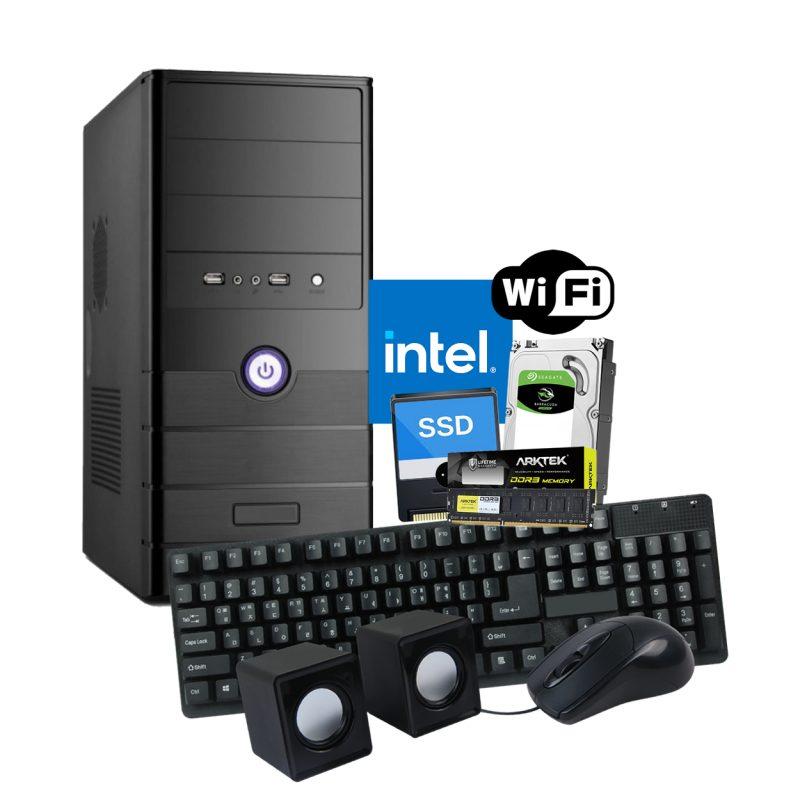 Pc Computadora Nueva INTEL Dual Core N3060 8GB 120GB SSD + 500GB HDD + Perifericos y WiFi 1