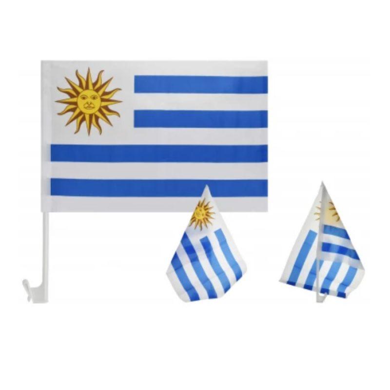 Bandera de Uruguay para Auto 44x30 cm. de Tela 2