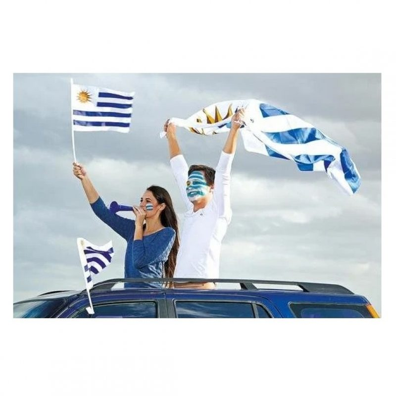 Bandera de Uruguay para Auto 44x30 cm. de Tela 4