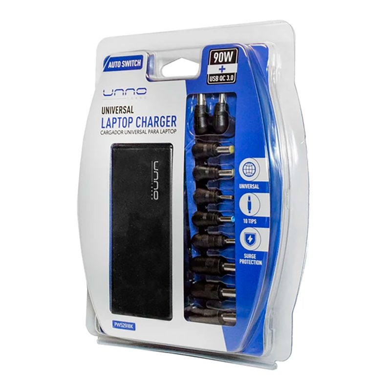 Cargador Universal UNNO PW5291 90W Para Notebooks 10 Puntas intercambiables 3