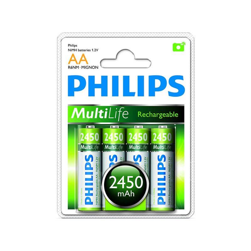 Pila Recargable Philips AA 2450mah Blister x4 Pilas 2