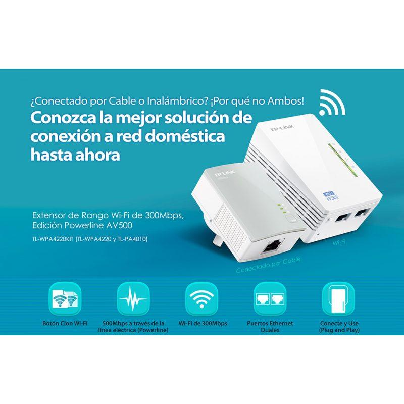 Kit Extensor Powerline TP-Link TL-WPA4220 Starter Kit WiFi AV600 300 Mbps 3