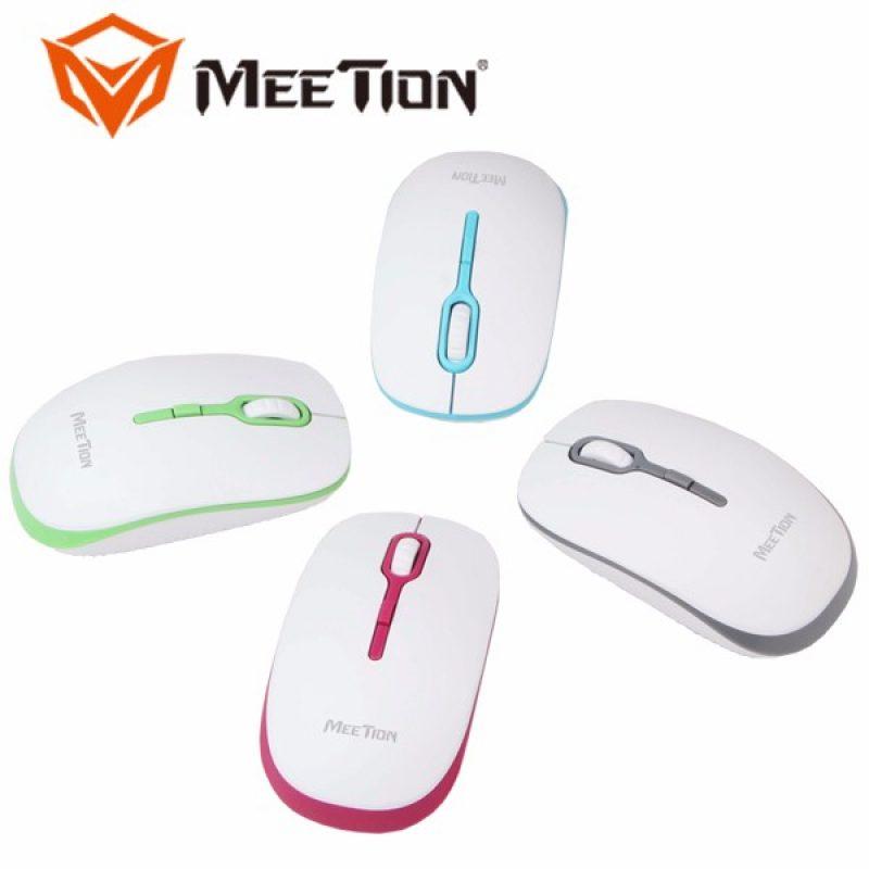 Mouse Optico Inalambrico Meetion MT-R547 Blanco y Rosado 4
