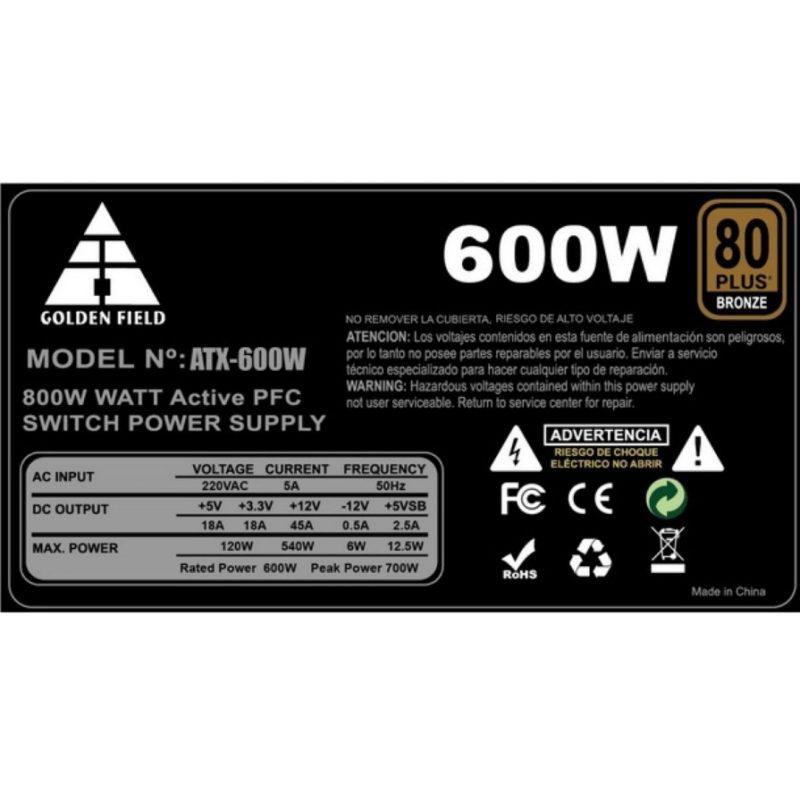 Fuente ATX 600w Reales con Certificacion 80 Plus Bronce 2