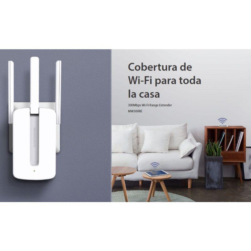 Extensor Amplificador de Señal WiFi Mercusys MW300RE 300Mbps Triple Antena 3