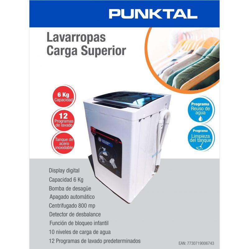 Lavarropas Punktal PK-06 Carga Superior 6Kg Tanque acero inox. 12 Programas de Lavado 4