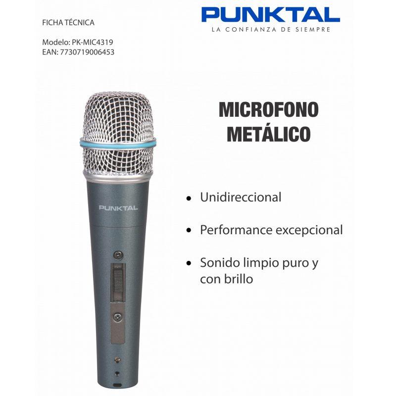 Micrófono Metálico Punktal PK-MIC4319 Karaoke 2