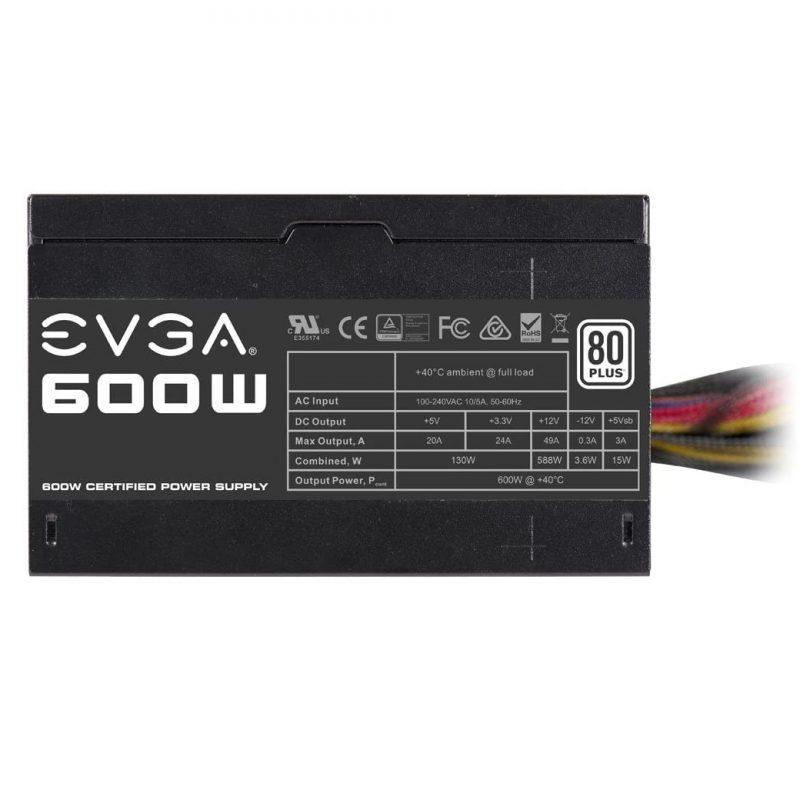 Fuente EVGA 100-W1-0600-K1 600w Reales 80 PLUS White Fan 120mm. 3