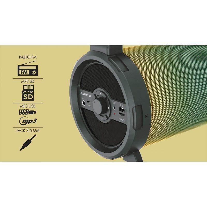 Parlante Portatil Avenzo AV-SP3301B Bazooka 18W Bluetooth USB microSD Luces LED y Micrófono incorporado 4