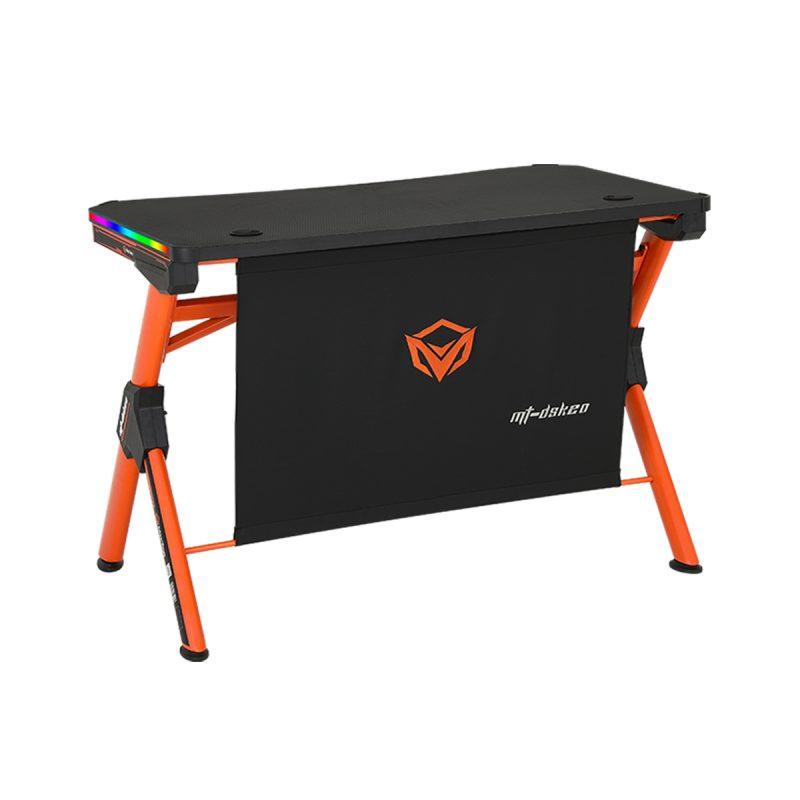 Escritorio Mesa Gamer para PC Meetion MT-DSK20 Forma de Z Negro con Naranja y Luces RGB Alta Calidad 1