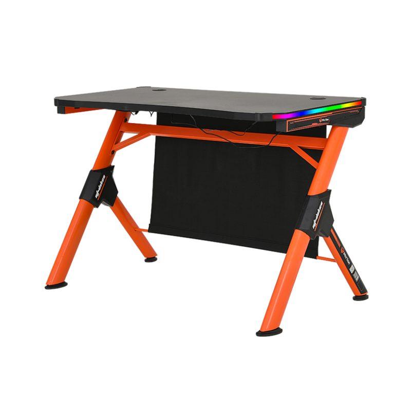 Escritorio Mesa Gamer para PC Meetion MT-DSK20 Forma de Z Negro con Naranja y Luces RGB Alta Calidad 3