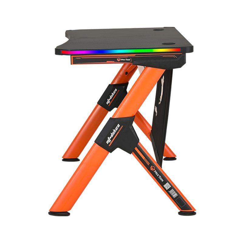 Escritorio Mesa Gamer para PC Meetion MT-DSK20 Forma de Z Negro con Naranja y Luces RGB Alta Calidad 4