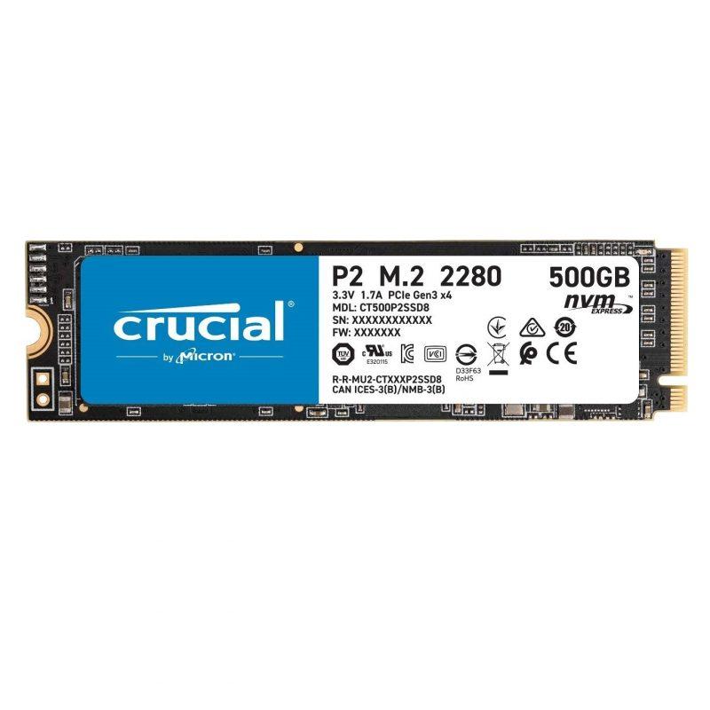 Disco Solido SSD M2 Crucial PCIe NVMe P2 500 GB CT500P2SSD8 Interno 1
