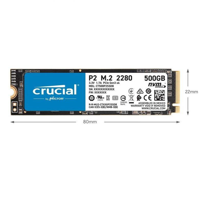 Disco Solido SSD M2 Crucial PCIe NVMe P2 500 GB CT500P2SSD8 Interno 3