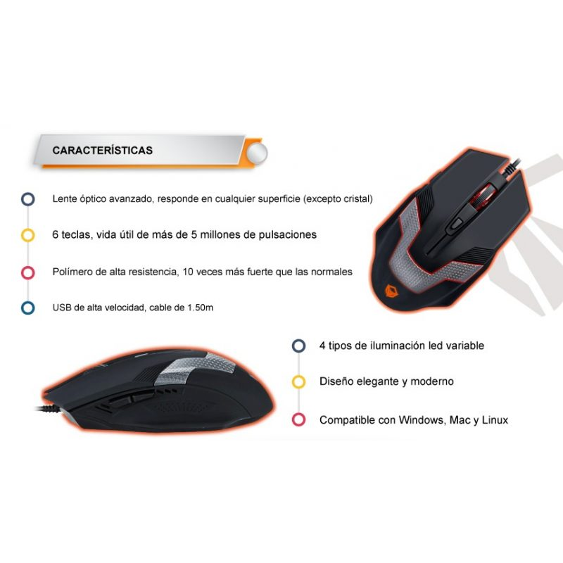 Mouse Optico USB Gamer Meetion MT-M940 Retroiluminado 3