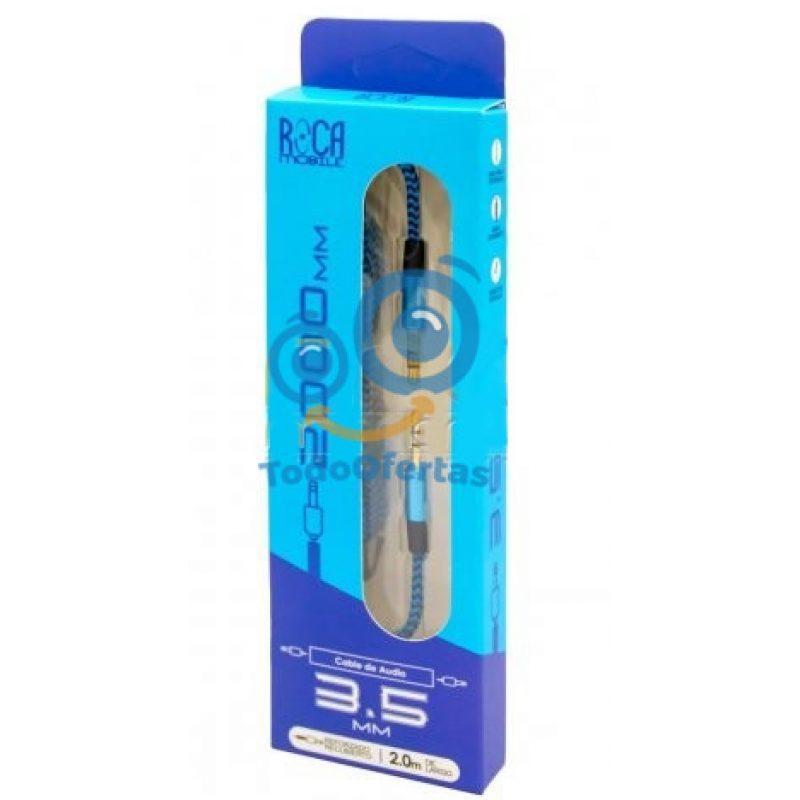 Cable de Audio Auxiliar ROCA 3.5mm a 3.5mm (2 Metros) 1