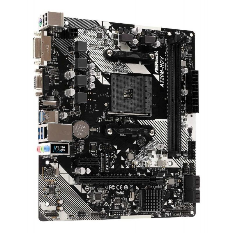 Motherboard ASRock A320m-hdv Am4 R4.0 AMD Socket AM4 A-Series Ryzen 3