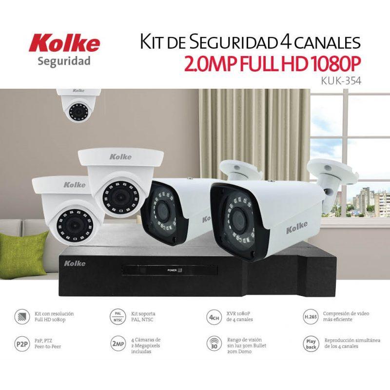 Kit Camaras de Seguridad Vigilancia XVR Kolke KUK-354 4 Camaras FULL HD 2mp 4