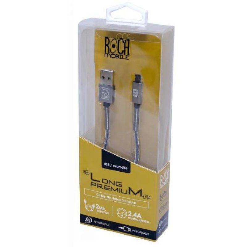 Cable de Datos ROCA Calidad Premium microUSB 2 Metros Forrado 1