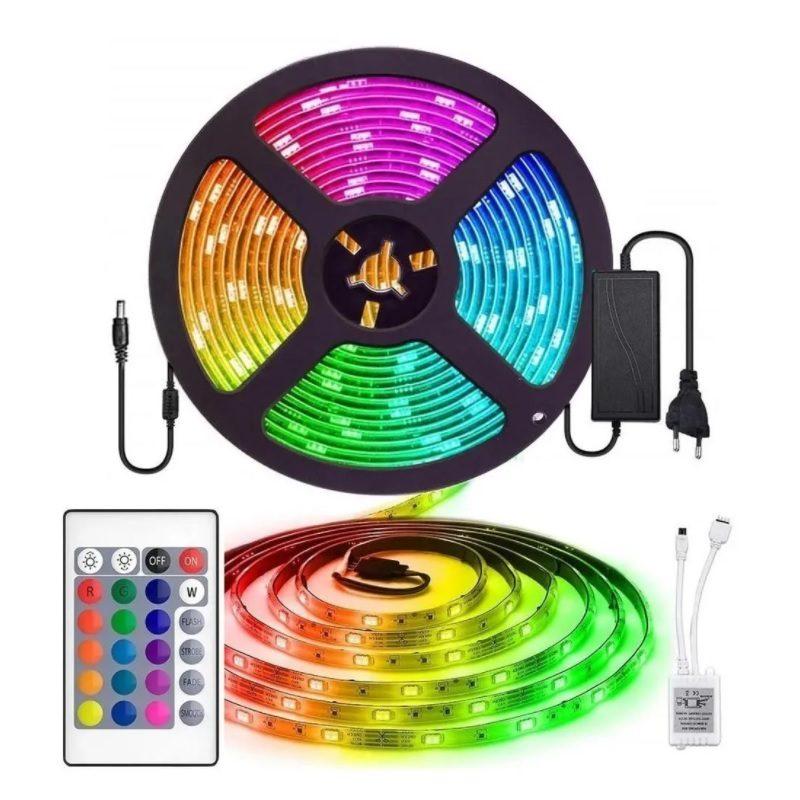 Rollo Cinta de Tiras LED RGB 5 Metros de largo con Transformador y Control remoto (Modelo 5050) 1