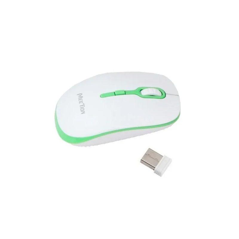 Mouse Optico Inalambrico Meetion MT-R547 Blanco y Verde 1