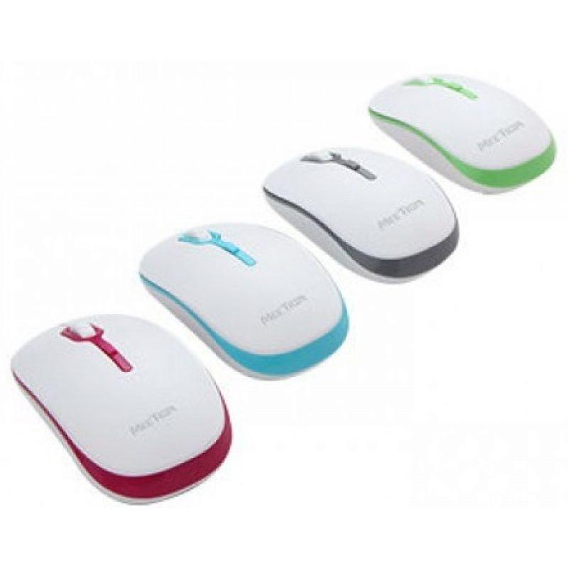 Mouse Optico Inalambrico Meetion MT-R547 Blanco y Verde 2