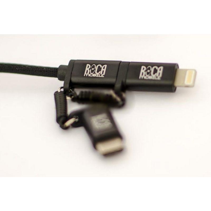 Cable de Datos ONE PLUS 3 en 1 Micro USB + Tipo C + iPhone (Lightning) 4